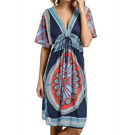 LELINTA Women Bikini Cover Up Mini Dress V Neck Loose Swimwear Bathing Suit Beachwear Swimsuit Long Tops Sundress Blue/ Black/ White/ Green/ Navy/ Watermelon Red