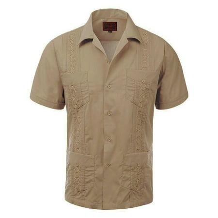 Men's Guayabera Embroidered Cuban Beach Wedding Short Sleeve Button up Casual Dress Shirt Moca](Cuban Style Shirts)
