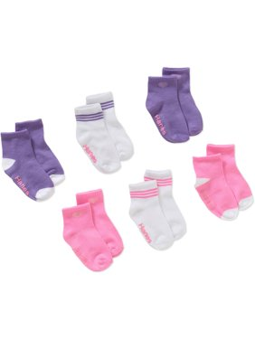 Hanes Baby and Toddler Girls Ankle Socks, 6-Pack