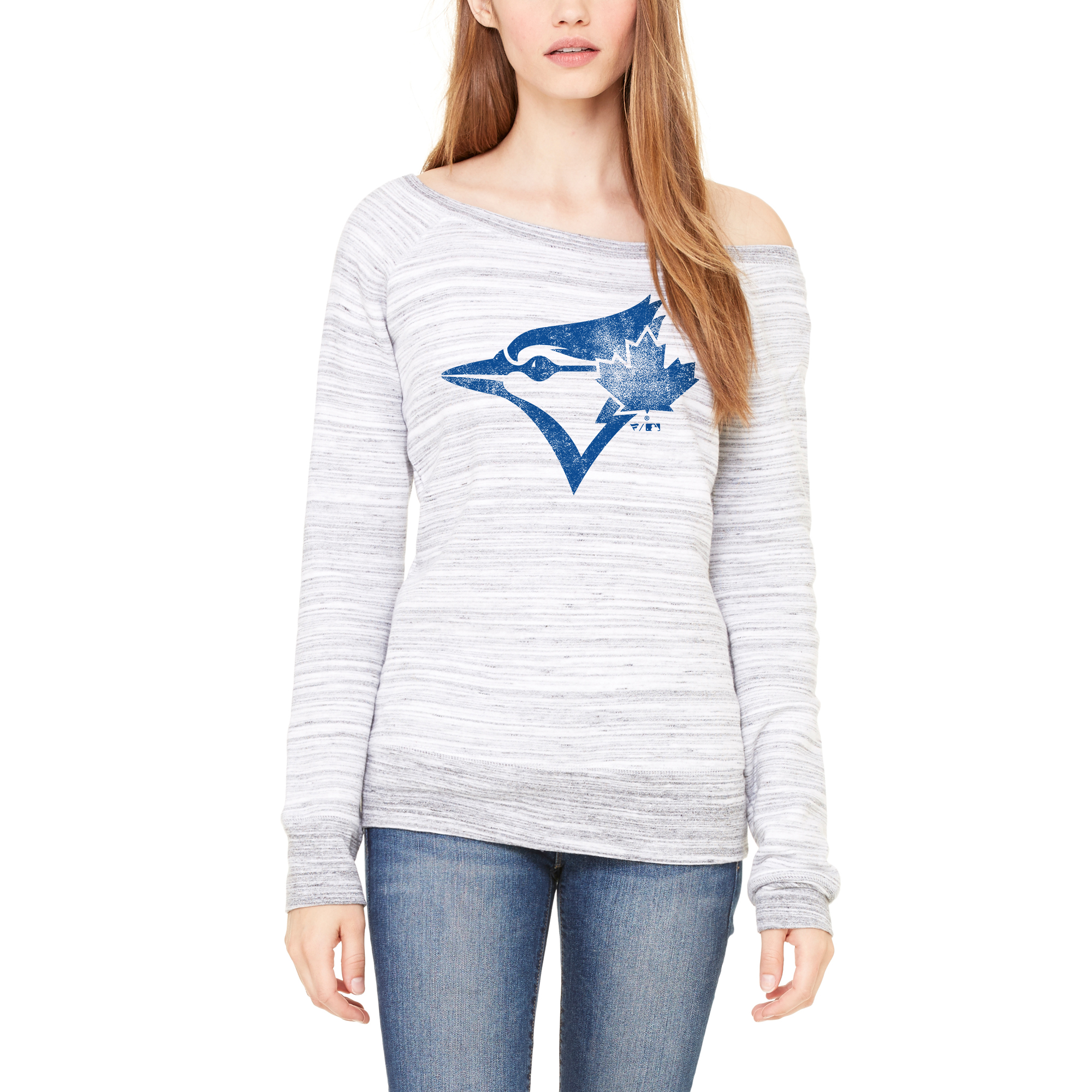 Toronto Blue Jays Let Loose by RNL Women's Game Day Wide Neck Sweatshirt - Light Gray Marble