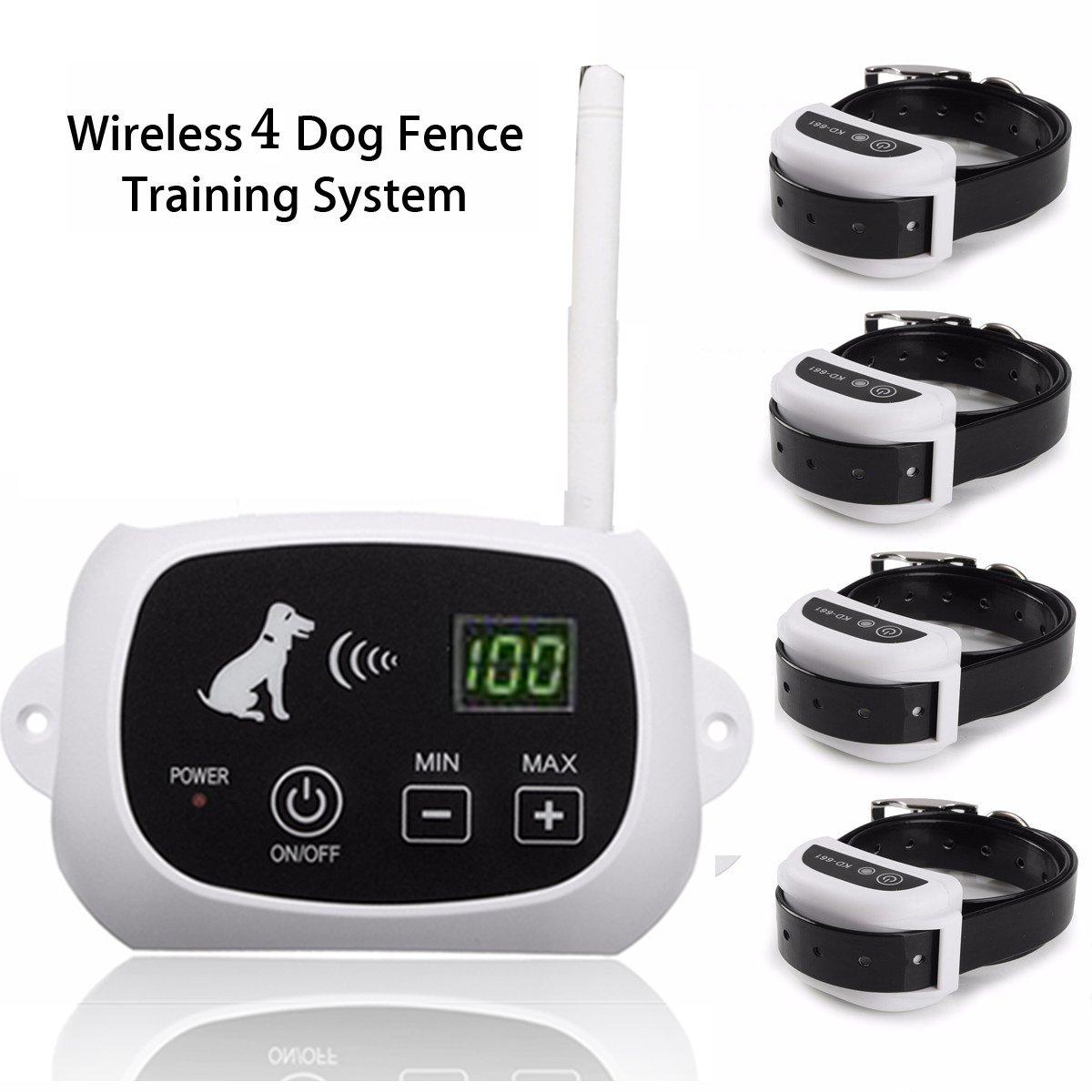 Elegiant Wireless Remote Pet 4 Dog Fence No Wire Training