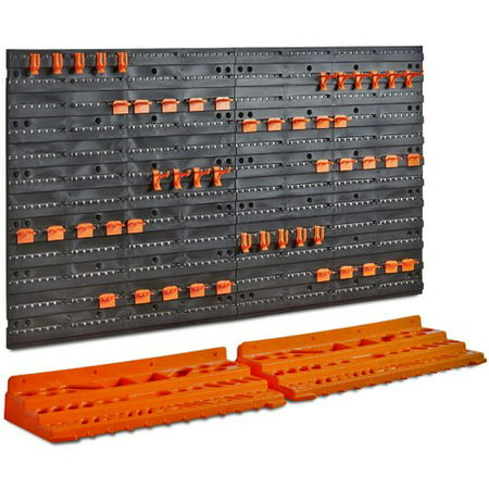 VonHaus 50 Piece Wall Mounted Plastic Pegboard and Shelf Tool Organizer 21'' H x 37.7'' W Kit (Pegboard Storage)