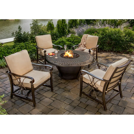 Image of Oakland Living Caledonia Aluminum 5 Piece Fire Pit Chat Set with Optional Lazy Susan and Fire Beads