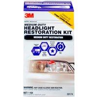 3M Medium Duty Headlight Restoration Kit with Quick Clear Coat, 39174