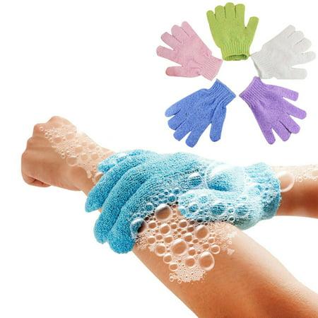 5Pcs Shower Gloves Exfoliating Wash Skin Spa Bath Gloves Foam Bath Skid Resistance Body Massage Cleaning Loofah Scrubber