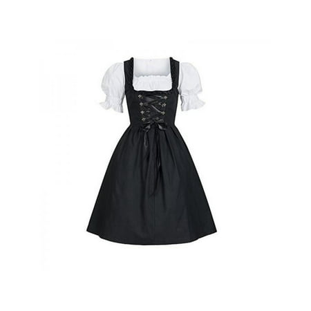 Topumt Women Traditional German Dirndl Oktoberfest Beer Costume Bavarian Dress ()