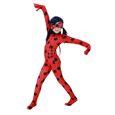 Ash Ketchum Costume Girl (KINOMOTO Lady Bug Costume Girls Marinette Cosplay Jumpsuit,Kids)