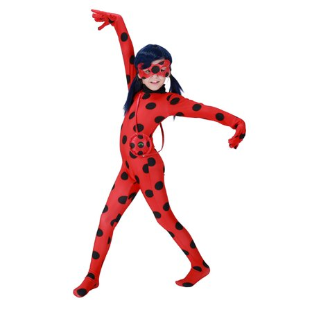 KINOMOTO Lady Bug Costume Girls Marinette Cosplay Jumpsuit,Kids S (Babies R Us Ladybug Halloween Costume)