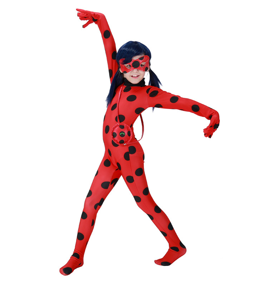 KINOMOTO Lady Bug Costume Girls Marinette Cosplay Jumpsuit,Kids S
