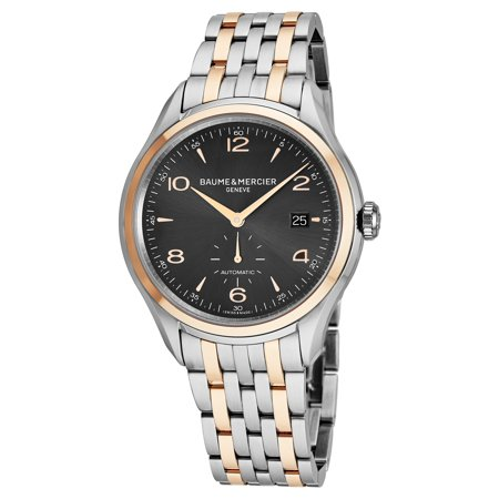 Baume & Mercier Baume Mercier Men's MOA10210 'Clifton' Grey Dial Stainless Steel/Rose Gold Swiss Automatic Watch