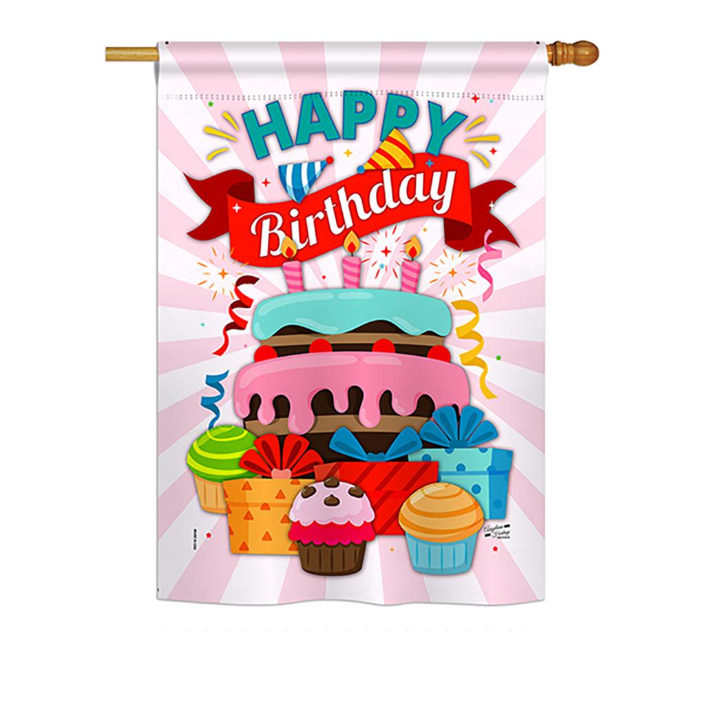 Details about  /Unicorn Birthday Cake Garden Flag Celebration Decorative Gift Yard House Banner