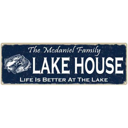 The MCDANIEL Family Lake House Sign 6x18 Metal Fishing Cabin Decor (Mcdaniel Metals)