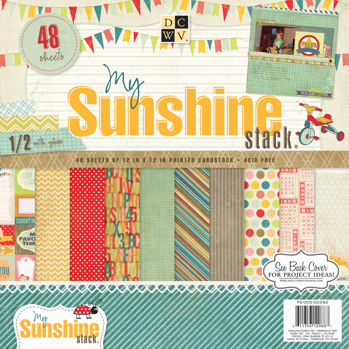 "My Sunshine Paper Stack, 12"" x 12"", 48pk"