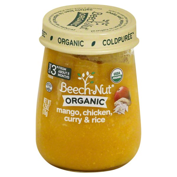 Beech-Nut Organic ColdPuree Stage 3 Mango, Chicken, Curry & Rice, 4.25 oz