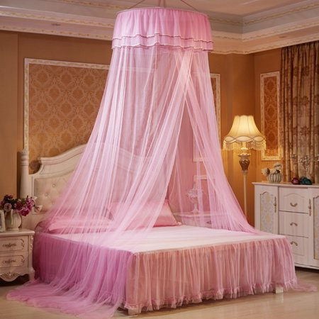 Elegant Lace Hanging Bedding Mosquito Net Dome Top Princess Bed Canopy Netting Pink