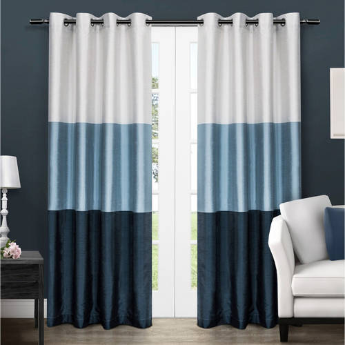 "Chateau Striped Faux Silk Grommet Top Window Curtain Panel Pair, Dove Grey, 54"" X 108"" by Exclusive Home"