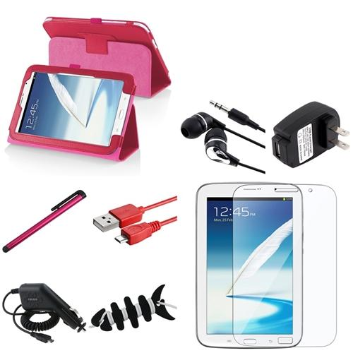 INSTEN Rose Red Leather Case Cover Stand+USB/Car/Charger For Samsung Galaxy Note 8.0 N5100