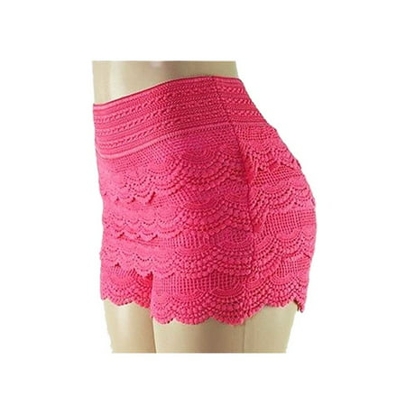 TD Collections Women's Elastic Waist Tiered Crochet Lace Scallop Hem Casual Mini Shorts](High Waisted Red Sequin Shorts)