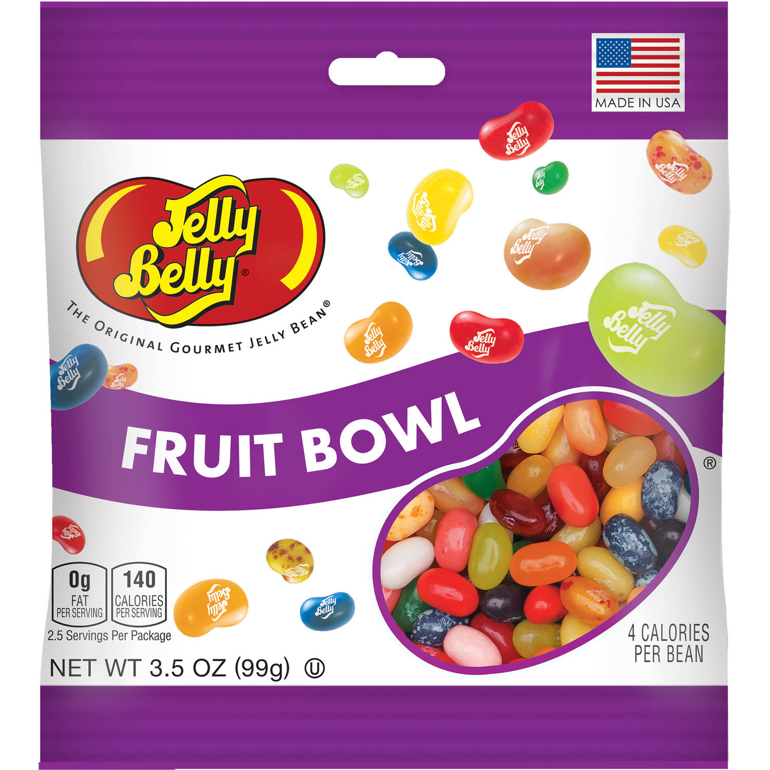 (4 Pack) Jelly Belly, Assorted Flavor Fruit Bowl Jelly Beans 3.5 Oz