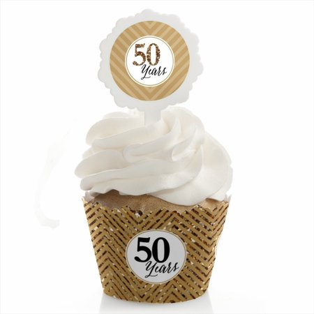 Anniversary Wedding Gift Wrap - We Still Do - 50th Wedding Anniversary - Cupcake Wrapper & Pick Party Kit - Set of 24
