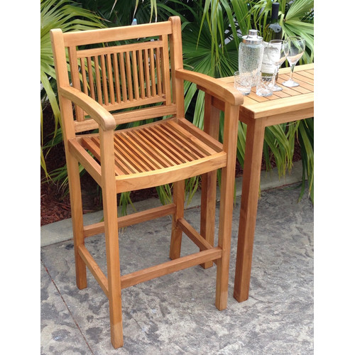Chic Teak Maldives 29'' Teak Patio Bar Stool