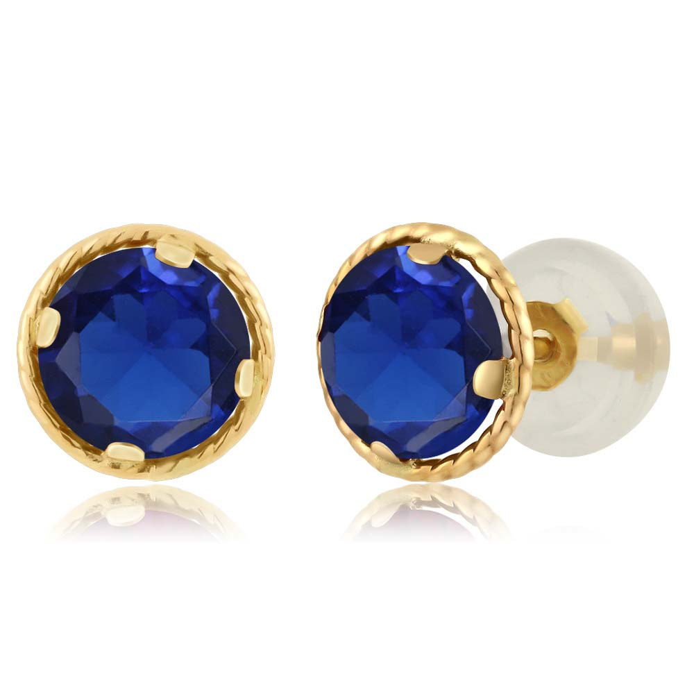 1.20 Ct Round 5mm Blue Simulated Sapphire 14K Yellow Gold Stud Earrings