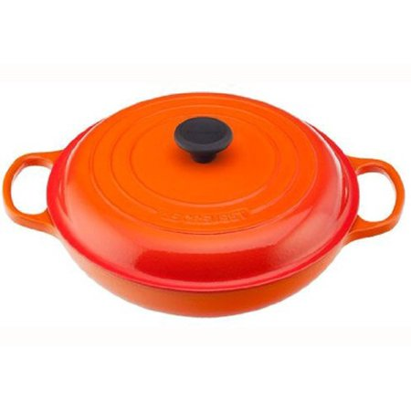 Le Creuset Signature Enameled Cast-Iron 3-3/4-Quart Round Braiser, Flame