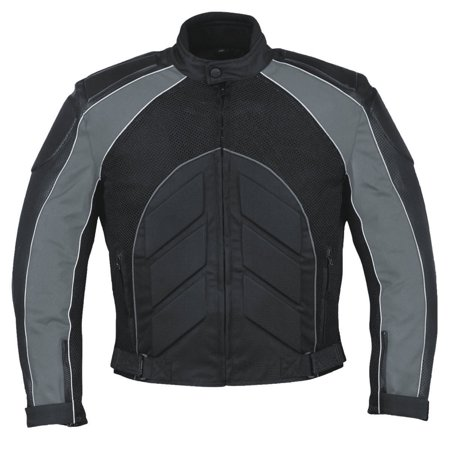 Men's Mossi Elite Jacket Motorcycle Riding Coat with CE Armor Black/Dark Grey ()