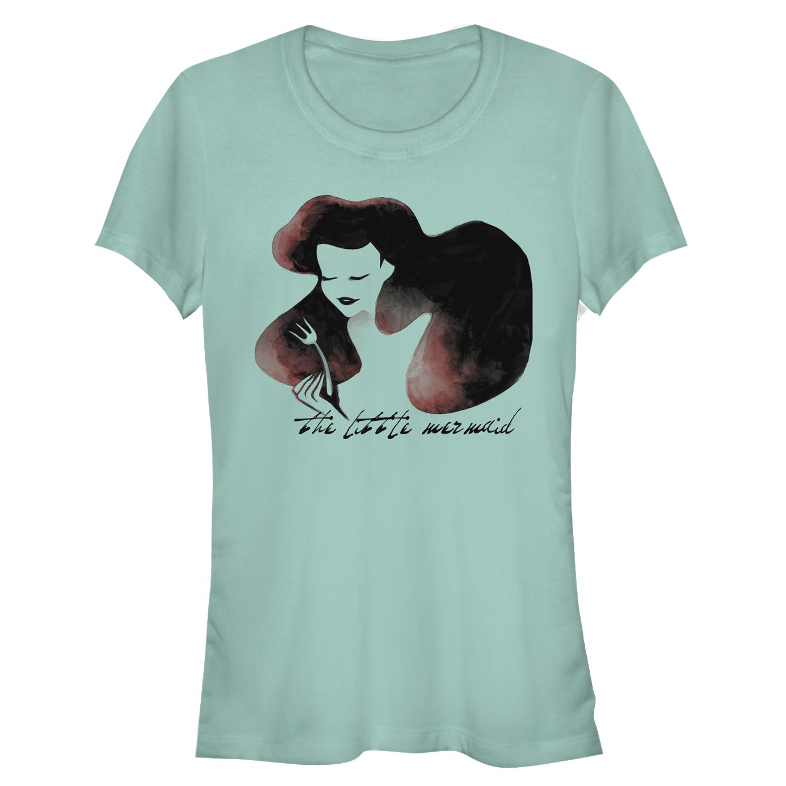 The Little Mermaid Juniors' Ariel Watercolor Fork Print T-Shirt
