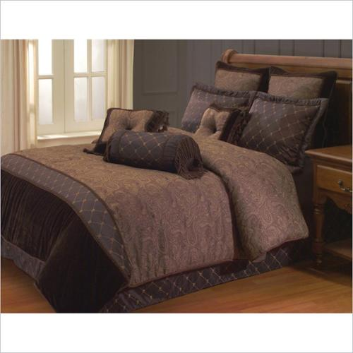 Opulent Paisley 9 or 10 Piece Comforter Set in Brown