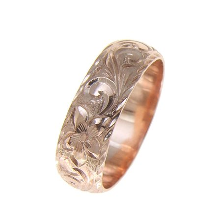 14K pink rose gold hand engraved Hawaiian plumeria scroll ring diamond cut edge 8mm size 3.5