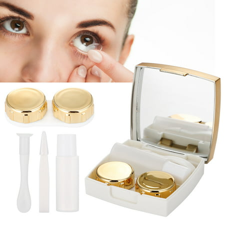 3Colors Mini Contact Lens Holder Eye Care Lenses Container Case Portable Mirror Box , Mini Contact Lens Box, Contact Lens Box for $<!---->