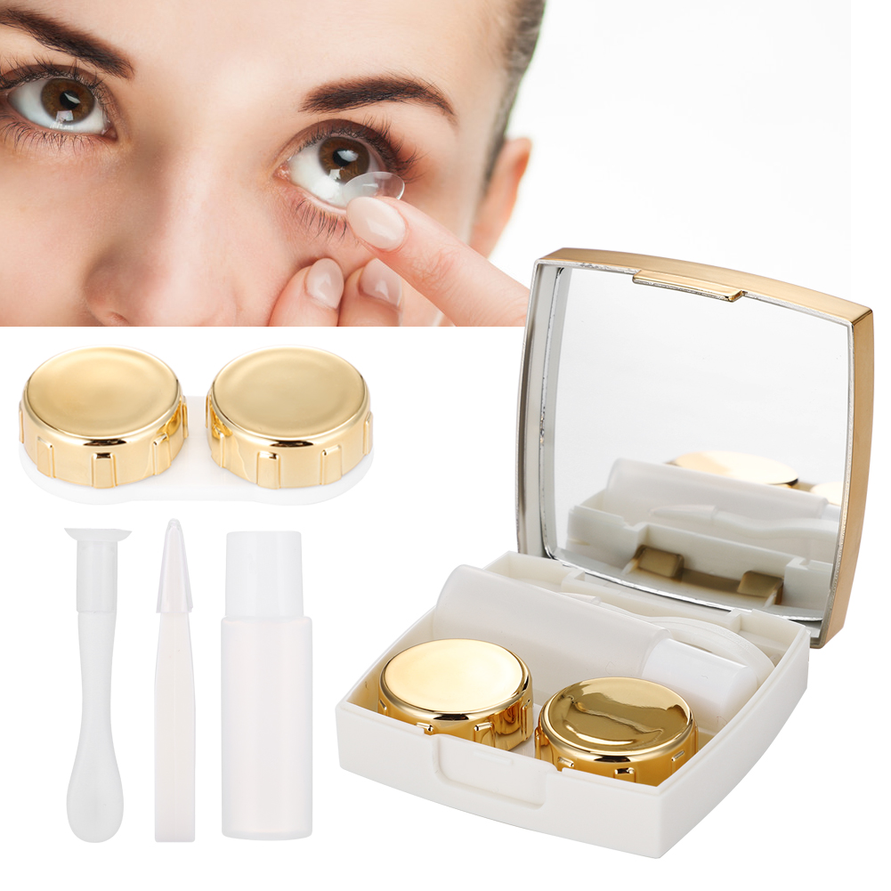 WALFRONT 3Colors Mini Contact Lens Holder Eye Care Lenses Container Case Portable Mirror Box , Contact Lens Box, Mirror Lens Case