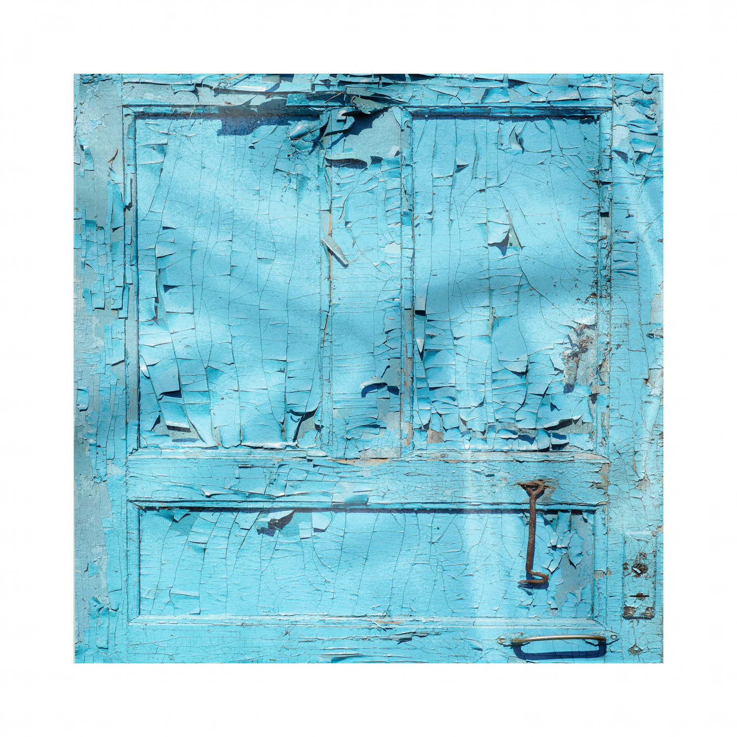 Abandoned Napkins Set Of 4, Cracked And Old Painted Blue
