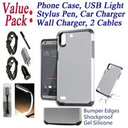 "Value Pack Cables Chargers + for 5"" HTC Desire 530 Desire 650 Case Phone Case Shock Proof Edges Hybrid Layers Hard Back Bumper Slim Cover Smooth Silver"