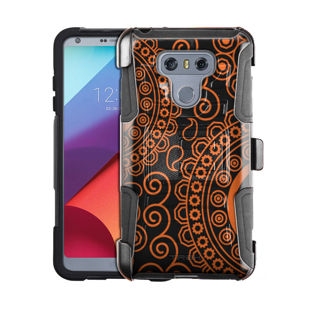 size 40 ee5ff deea1 LG G6 Armor Hybrid Case - Paisley Circles Orange on Black