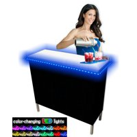 Portable Folding Party Bar w/ LED Lights and Black & Hawaiian Bar Skirts - Single Set