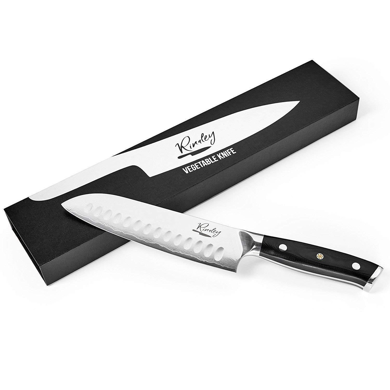 Santoku Vegetable kitchen Knife 7 inch blade Damascus steel Micarta handle