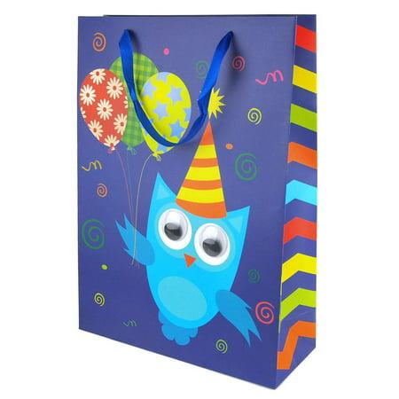 Owl Gift Bags (Googly Eyes Owl Balloons Baby Shower Paper Gift Bag, Blue,)