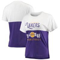 Los Angeles Lakers FISLL Women's Interlock Mesh Combo Short Sleeve T-Shirt - White/Purple