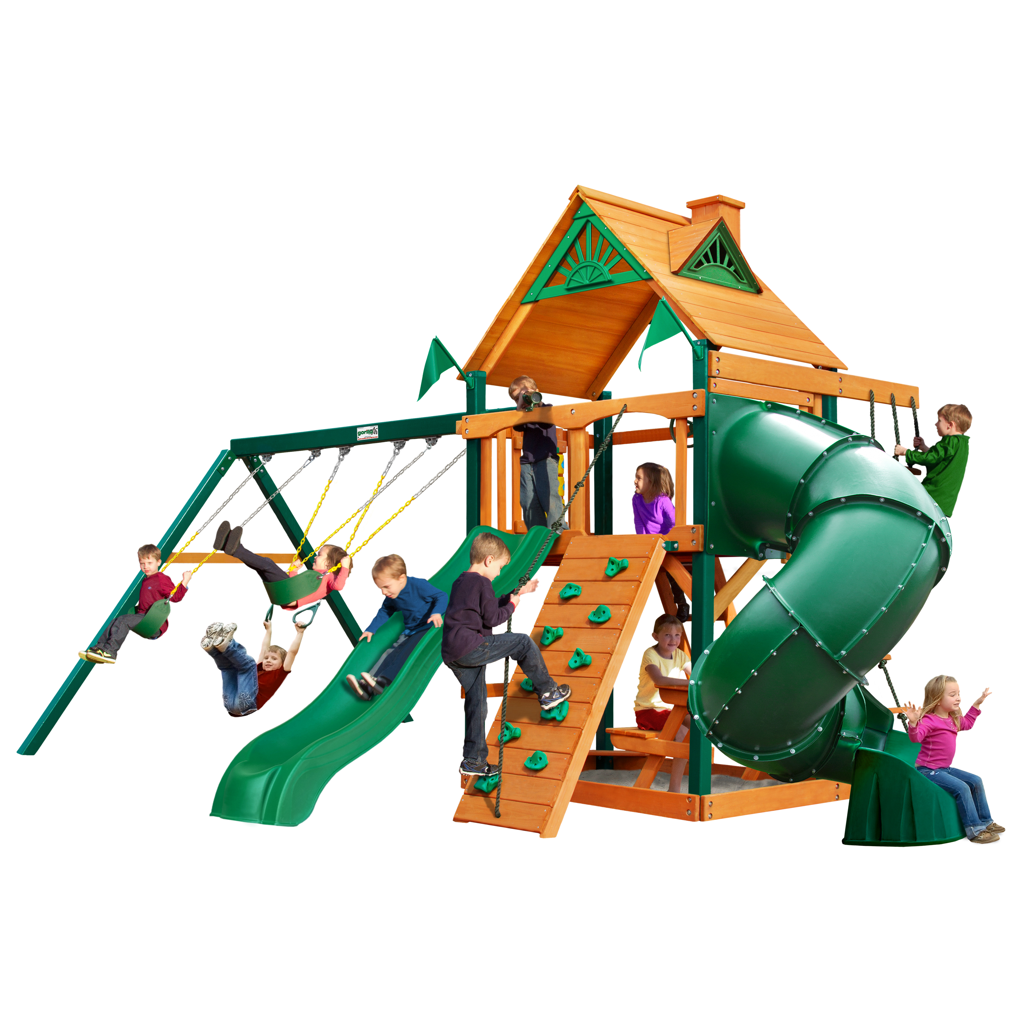 Gorilla Playsets Mountaineer Cedar Swing Set with Timber Shield™ Posts