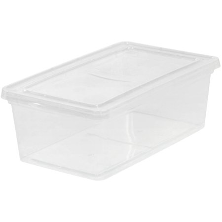 Steel Bin Storage (IRIS 6 Qt. Plastic Storage Box, Clear )