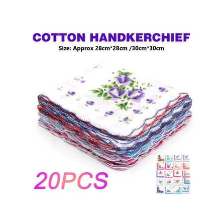10-40Pcs Handkerchief Cotton Vintage Ladies Women Pocket Floral Flowers Quadrate Hanky Hankies