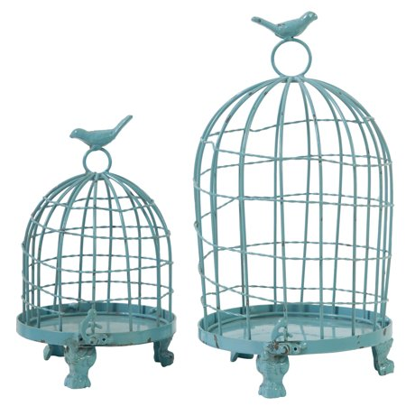 A Home Set Of 2 Stella Decorative Birdcages With Bird Finial  Blue