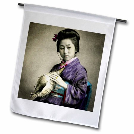 3dRose Vintage Japanese Geisha Holding a Conch Shell Horn in Old Japan - Garden Flag, 12 by 18-inch Conch Shell Horn