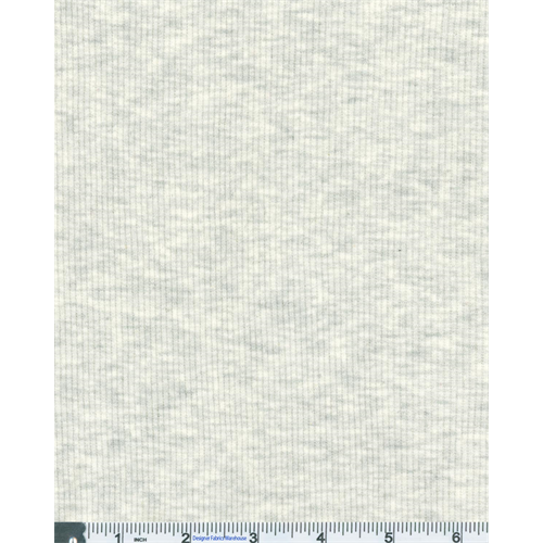 Light Grey 2 x 1 Space Dye Mini Rib Knit, Fabric By the Yard