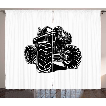 Truck Curtains 2 Panels Set, Modified Automobile Monochrome Sketch Pattern Monster Pickup Truck Off Road Vehicle, Window Drapes for Living Room Bedroom, 108W X 90L Inches, Black White, by Ambesonne Black Diamond Off Road