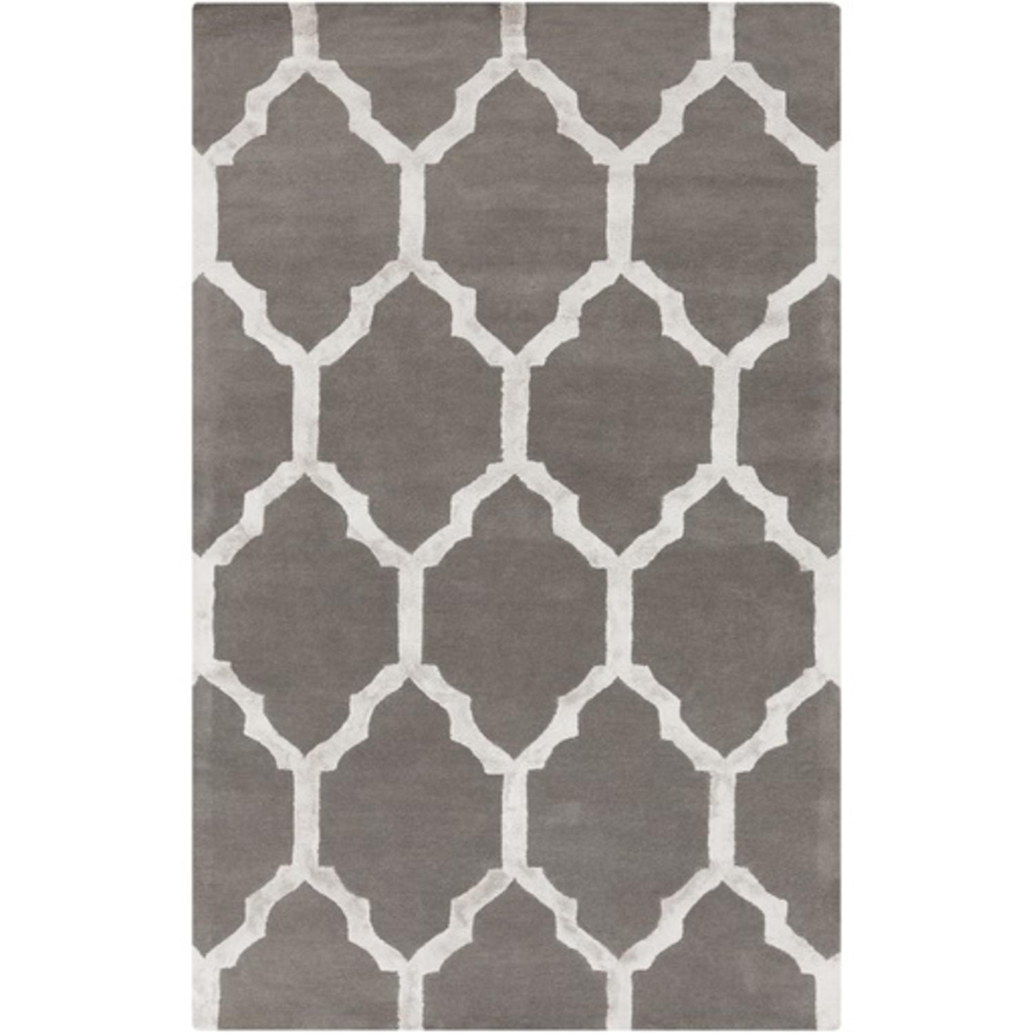 2' x 3' Moroccan Corridors Charcoal Gray and Light Gray Wool Area Throw Rug