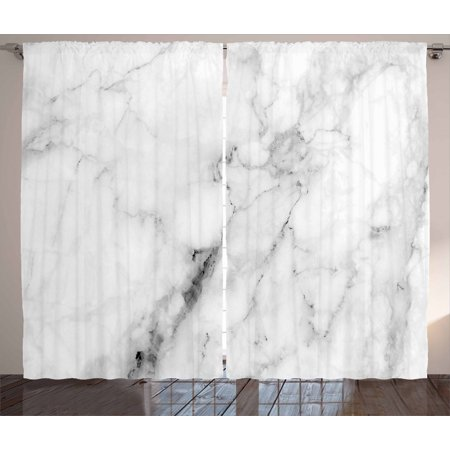 Marble Curtains 2 Panels Set, Marble Surface Pattern with Cracked Lines and Hazy Stripes Artistic Display, Window Drapes for Living Room Bedroom, 108W X 63L Inches, Grey Dust White, by Ambesonne