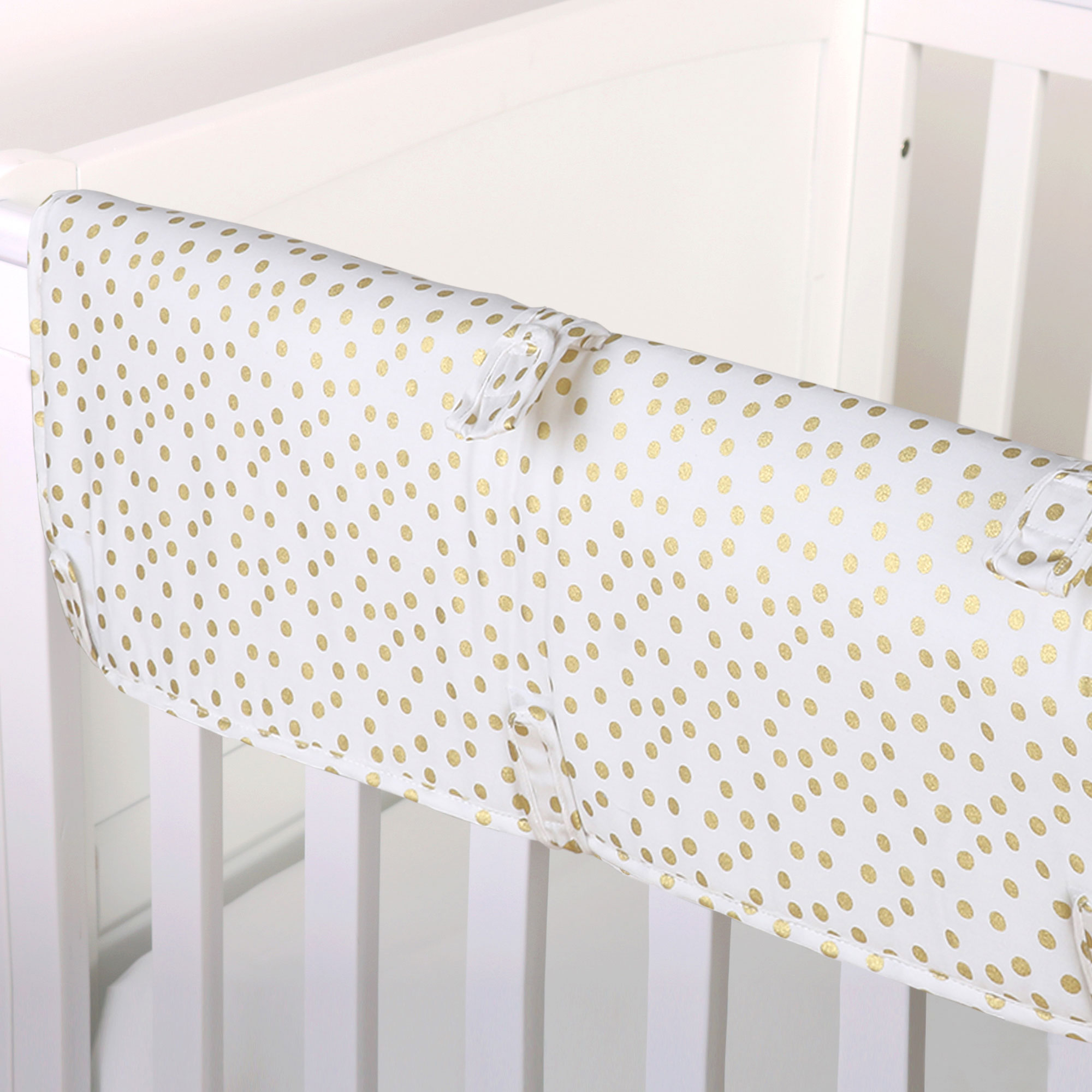 The Peanut Shell Baby Crib Rail Guard - Metallic Gold Confetti Dot Print - 100% Cotton Sateen Cover, Polyester Fill